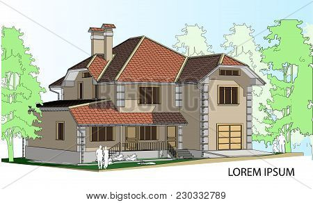 Vector Drawing Of A House In The Future. The House With A Slate Roof. Drawing Of A House. Private Ho