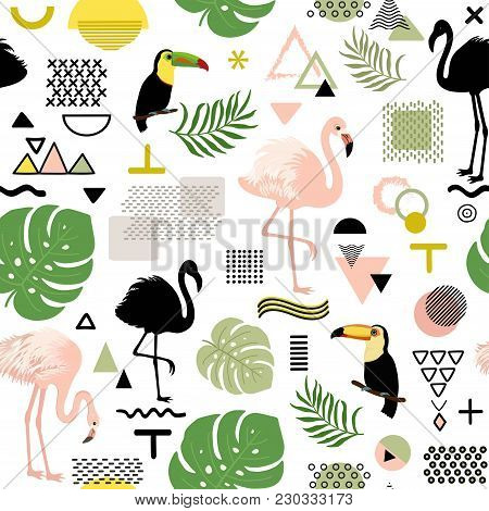 Seamless Abstract Pattern With Flamingo, Toucan And Tropical Leaves