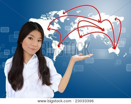 Business Woman And World Map Network