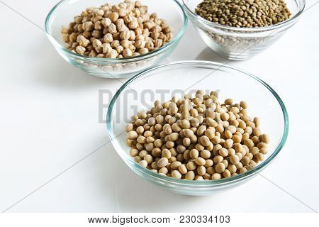 Soybeans In Bowl And Other Legumes On White