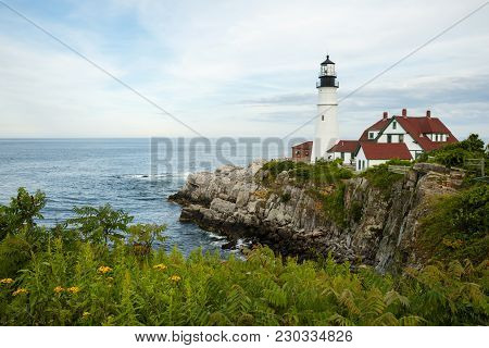 Portland Head Lighthouse Stand Over Rocky Cliffs At Low Tade With Wildflowers Blooming On A Warm Sum