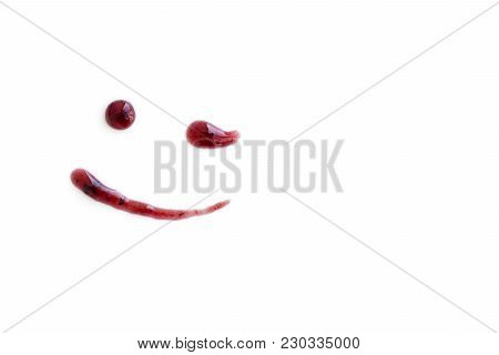 Drawing Smile Of Berry Jam, Winking, Isolated