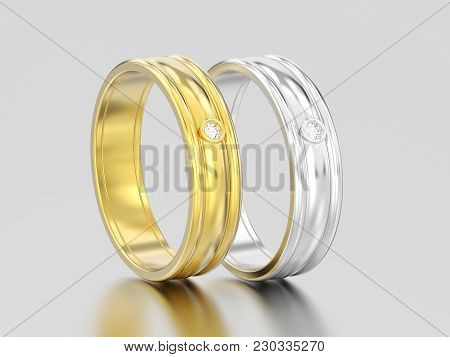 3d Illustration Two Yellow And White Gold Or Silver Matching Couples Wedding Diamond Rings Bands On