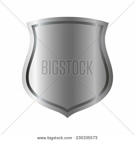 Silver Shield Shape Icon. 3d Gray Emblem Sign Isolated On White Background. Symbol Of Security, Powe