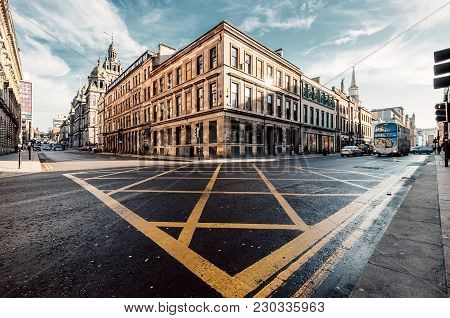 Glasgow, Scotland,uk - March 8, 2019:crossing Of Ingram And S Frederick St In Glasgow, Scotland,uk