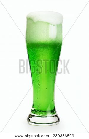 Green Patrick's Day Beer Isolated With Clipping Path