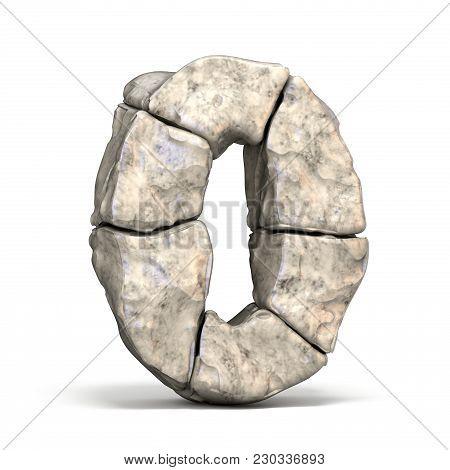 Stone Font Number 0 Zero 3D