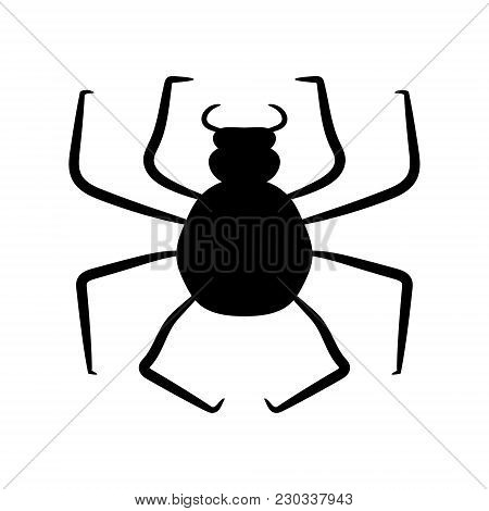 Black Spider On A White Background. Vector Illustration. Hand Drawing.