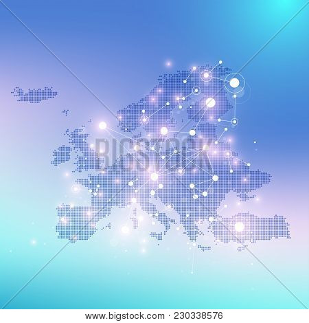 Geometric Graphic Background Communication With Dotted Europe Map. Big Data Complex With Compounds.
