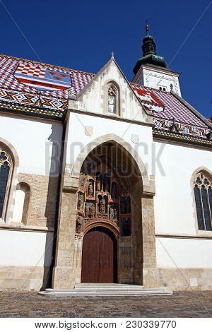 Detail Of Church Of St. Mark Zagreb, Croatia