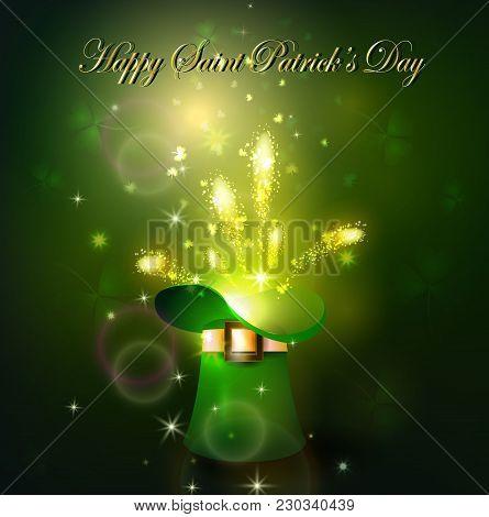 Golden Firework In Green Hat For Saint Patrics Day