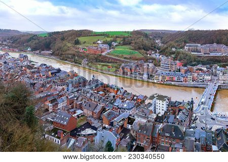 Aerial View Of Dinant, Belgium On River Meuse With Collegiate Church Of Notre-dame As Seeing From Ci