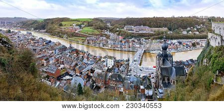 Panoramic View Of Dinant, Belgium On River Meuse With Collegiate Church Of Notre-dame As Seeing From