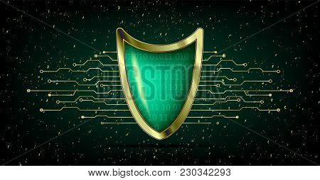 Cyber Security Antivirus Concept With Gold Green Shield, Futuristic Lines And Numbers. Protected Web