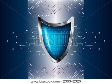 Cyber Security Antivirus Concept With Silver Blue Shield, Futuristic Lines And Numbers. Protected We