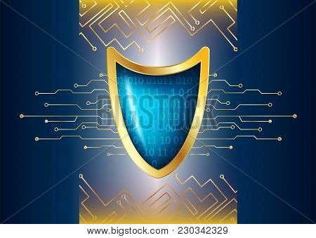 Cyber Security Antivirus Concept With Gold Blue Shield, Futuristic Lines And Numbers. Protected Web