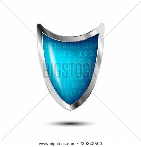 Cyber Security Antivirus Concept With Silver Blue Shield And Numbers. Protected Web Privacy Technolo
