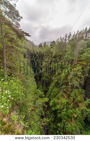 Braemore, Scotland - June 8, 2012: Long View. Corrieshalloch Gorge, A Deep Cut In Landscape With For