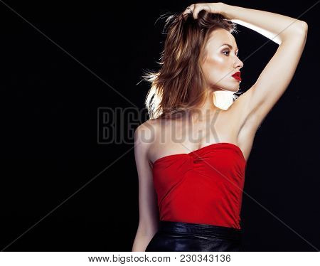 Young Pretty Lady In Dress Posing Sexy On Black Background, Party Make Up