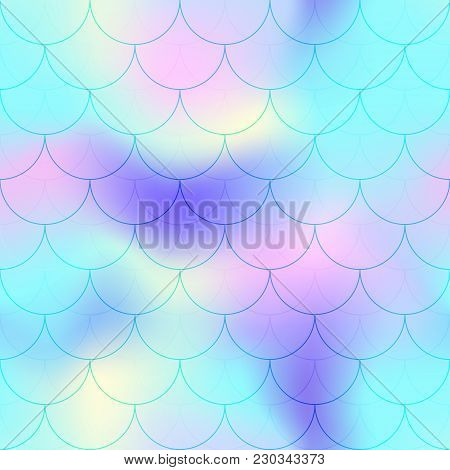Turquoise Blue Mermaid Scale Vector Background. Candy Color Iridescent Background. Fish Scale Patter