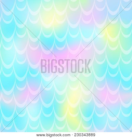 Turquoise Mermaid Vector Background. Mint Pink Iridescent Background. Fish Scale Pattern. Mermaid Se