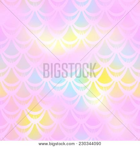 Pastel Pink Yellow Mermaid Skin Vector Background. Girlish Iridescent Background. Fish Scale Pattern