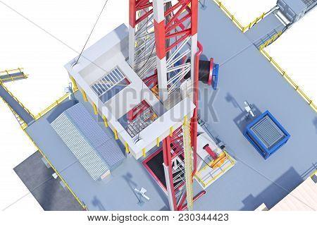 Land Rig Metal Oil Derrick, Close View. 3d Rendering
