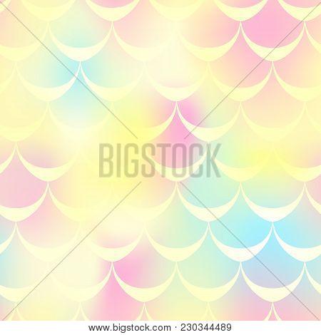 Yellow Pink Mermaid Skin Vector Background. Warm Gamma Iridescent Background. Fish Scale Pattern. Se