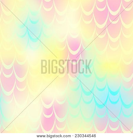 Yellow Pink Mermaid Vector Background. Multicolored Iridescent Background. Fish Scale Pattern. Seaml