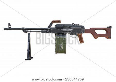 Gun Machine Automatic Firearm, Side View. 3d Rendering
