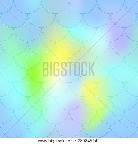 Blue Yellow Mermaid Scale Vector Background. Candy Color Iridescent Background. Fish Scale Pattern.