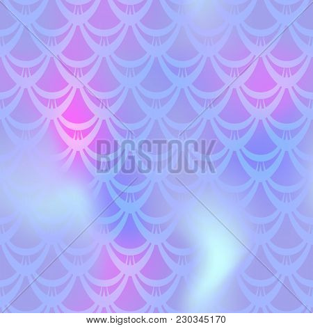 Cold Violet Mermaid Vector Background. Multicolored Iridescent Background. Fish Scale Pattern. Seaml