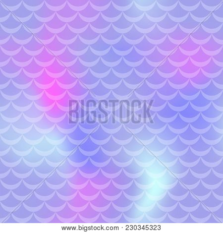 Pastel Violet Mermaid Skin Vector Seamless Pattern. Pale Iridescent Background. Fish Scale Pattern.