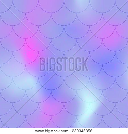 Violet Pink Mermaid Scale Vector Background. Candy Color Iridescent Background. Fish Scale Pattern.