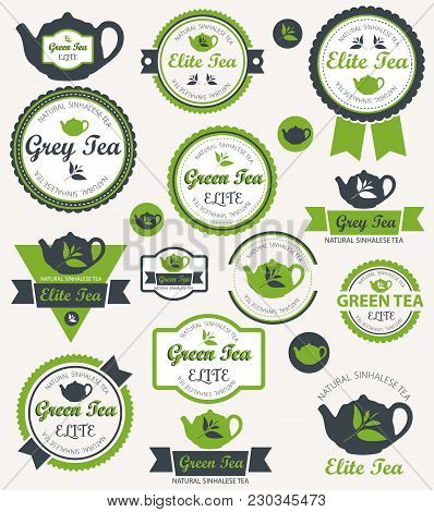 Set Of Creative Tea Badges And Icons. Vector Illustration