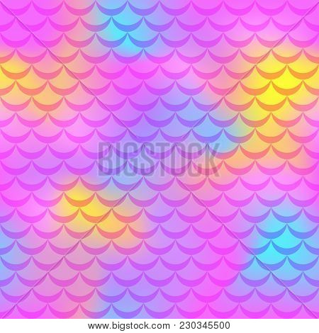 Hot Pink Mermaid Vector Background. Colorful Iridescent Background. Fish Scale Pattern. Mermaid Seam