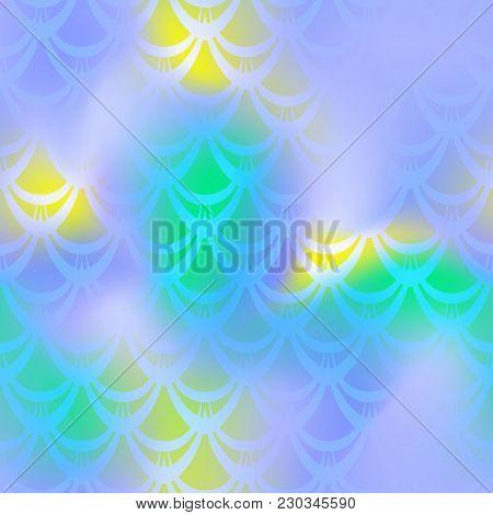 Violet Blue Mermaid Vector Background. Neon Light Iridescent Background. Fish Scale Pattern. Mermaid