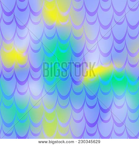 Green Blue Mermaid Vector Background. Multicolored Iridescent Background. Fish Scale Pattern. Seamle