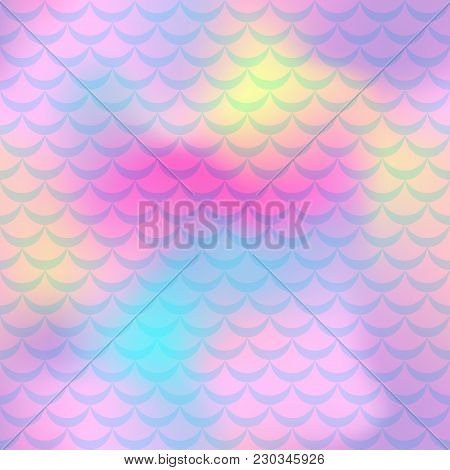 Violet Pink Mermaid Vector Background. Colorful Iridescent Background. Fish Scale Pattern. Mermaid S