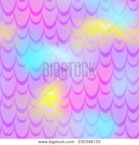 Pink Yellow Mermaid Vector Background. Colorful Iridescent Background. Fish Scale Pattern. Mermaid S