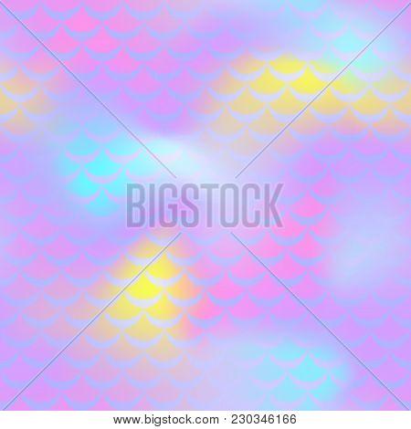 Pastel Violet Mermaid Skin Vector Background. Feminine Iridescent Background. Fish Scale Pattern. Se