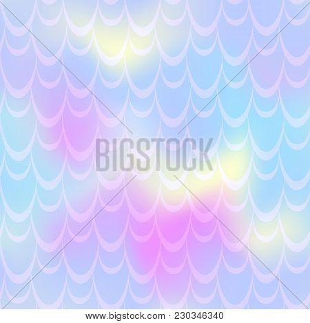 Pale Violet Mermaid Vector Background. Trendy Iridescent Background. Fish Scale Pattern. Mermaid Sea