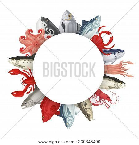 Seafood Round Banner. Shellfish And Sea Fish, Various Species Of Molluscs, Lobsters, Mussels And Cra