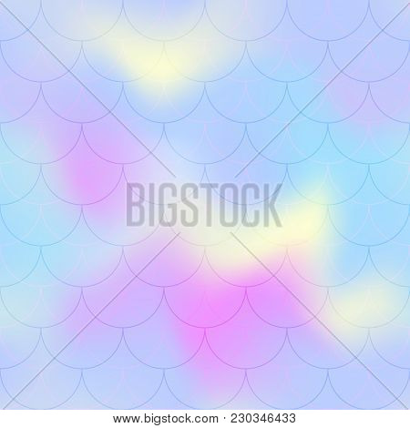 Pink Blue Mermaid Scale Vector Background. Pastel Iridescent Background. Fish Scale Pattern. Seamles