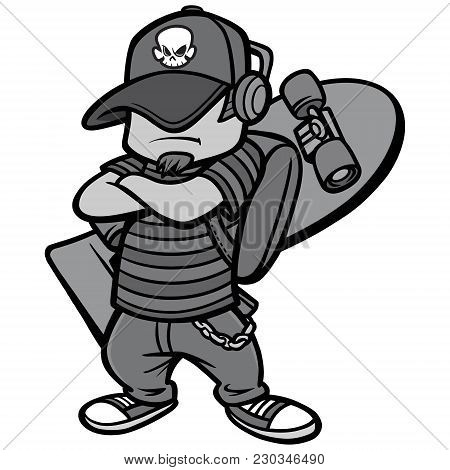 Skate Punk Illustration - A Vector Cartoon Illustration Of A Skate Punk Concept.