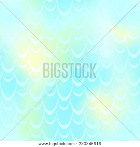 Turquoise Mermaid Vector Background. Light Iridescent Background. Fish Scale Pattern. Mermaid Seamle