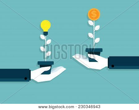 Illustration Of Idea Is Money Hand Exchange Bulb Idea To Money Tree Business Concept