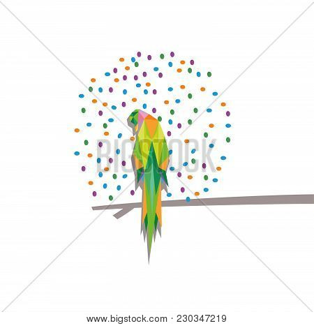 Parrot Triangle Illustration With Colorful Dotes , Siting On Stick,   White Background, For Web/prin