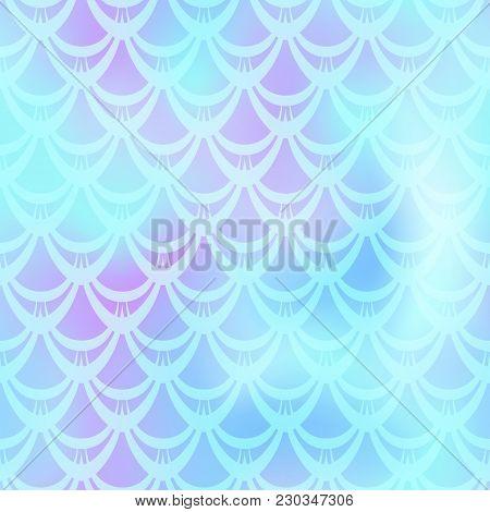 Ice Blue Mermaid Vector Background. Cyan Iridescent Background. Fish Scale Pattern. Mermaid Seamless