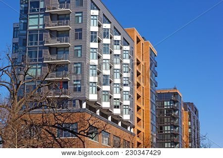 Modern Architecture Of Washington Dc, Usa. Residential Luxury Apartments In Downtown Of Us Capital C